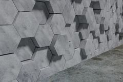 Hexagon Shaped Concrete Blocks Wall Background. Perspective View. 3D Illustration. Abstract architecture art backdrop black concept dark decoration design stock illustration