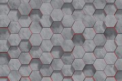 Hexagon Shaped Concrete Blocks Wall Background. Perspective View. 3D Illustration royalty free stock photography