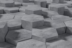 Hexagon Shaped Concrete Blocks Wall Background. Perspective View. 3D Illustration. Abstract architecture art backdrop black concept dark decoration design vector illustration