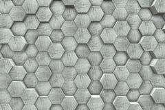 Hexagon Shaped Concrete Blocks Wall. Background. 3D Illustration Stock Photo