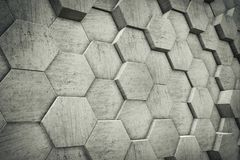 Hexagon Shaped Concrete Blocks Wall. Background. Perspective View. 3D Illustration Stock Images