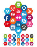 Hexagon Social Media icons Stock Photos
