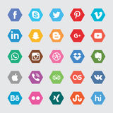 Hexagon Social Media Icons. A set of 25 popular social media icons for use in print and web projects. Icons include Royalty Free Stock Photography