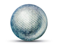 Hexagon sphere. Perfect sphere with a hexagonal texture. A soft shadow falls on the white background.  A transparent background is provided in the PNG additional Stock Image