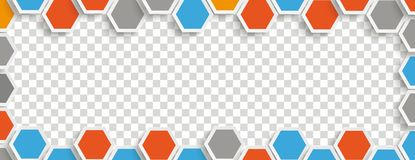 Colored Hexagon Structure Gray Transparent Header. Hexagon structure with centre on the checked background Stock Image