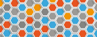 Colored Hexagon Structure Background Header. Hexagon structure on the gray background Vector Illustration