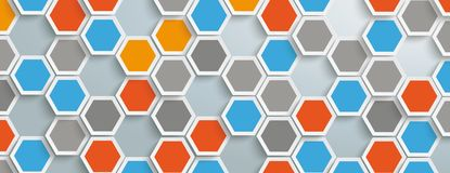 Colored Hexagon Structure Holes Background Header. Hexagon structure on the gray background Stock Illustration