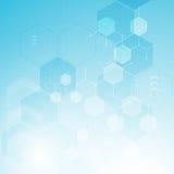 Hexagon-Strukturdesign des abstrakten Gesundheitsweseninnovationskonzepthintergrundes sauberes molekulares Lizenzfreie Stockbilder