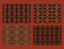 Hexagon Style Line Set Seamless Pattern Stock Image