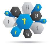 Hexagon team system Stock Photo