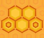 Hexagon tekstmalplaatje van gele en oranje kleuren Stock Fotografie