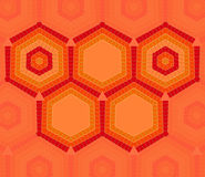 Hexagon text template of red and orange colors Royalty Free Stock Images