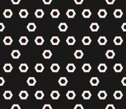 Hexagon texture, vector monochrome seamless pattern in hexagonal grid Stock Image