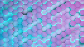 Hexagon textures with blue and purple light. 3D render.  Royalty Free Stock Photo