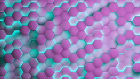 Hexagon textures with blue and purple light. 3D render.  Stock Images