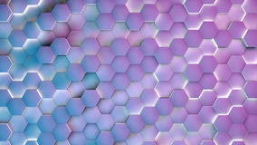 Hexagon textures with blue and purple light. 3D render.  Stock Photo
