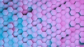 Hexagon textures with blue and purple light. 3D render.  Royalty Free Stock Images
