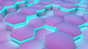 Hexagon textures with blue and purple light. 3D render.  Stock Photos