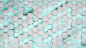 Hexagon textures with white light. 3D render.  Royalty Free Stock Image