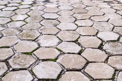 Hexagon tile paved sidewalk with perspective view. background, urban. stock photo