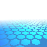 Hexagon tile perspective blue background Royalty Free Stock Image