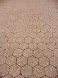 Hexagon tiled floor. Hexagon shaped tiles arranged neatly Royalty Free Stock Image