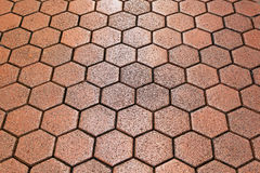 Hexagon tiles. Old hexagon pattern terracotta tiles background texture royalty free stock photography