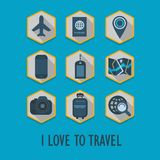 Hexagon travel icons set with long shadow Stock Photography