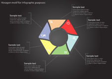 Hexagon with trendy colors infographic on black background Stock Photography