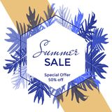 Hexagon vector frame with jungle leaves background and Summer Sale 50 percent off special offer text. Discount label, marketing banner with calligraphy, blue Stock Photography