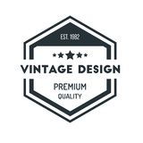 Hexagon Vintage Hipster Badge Logo Design Template Vector Symbol. Illustration Stock Photography