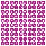 hexagon viooltje van 100 huishoudelijk werkpictogrammen Stock Illustratie