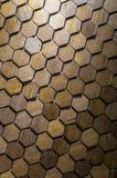 Hexagon wooden mosaic. Close-up for brown hexagon wooden mosaic Stock Image