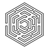 Hexagonaal Maze Hexagon-labyrintlabyrint met van het de kleurenoverzicht van het zes hoekpictogram het zwarte beeld van de de ill royalty-vrije illustratie