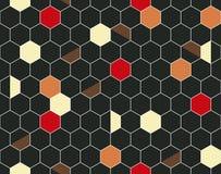 Hexagonaal naadloos patroon met abstract ornament van kleurrijke vlekken royalty-vrije illustratie