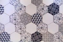 Hexagonaal van het tegelmozaïek ontwerp als achtergrond Stock Afbeeldingen