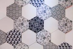 Hexagonaal van het tegelmozaïek ontwerp als achtergrond Stock Foto's