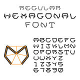 Hexagonal ABC. Geometric Font. Letters and Digits. Regular Royalty Free Stock Photos