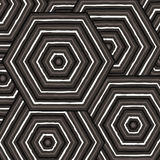 Hexagonal abstract Aboriginal line painting. In  format Royalty Free Stock Photo
