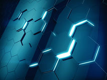 Hexagonal abstract background. 3d illustration Stock Image
