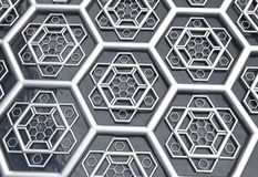Hexagonal abstract background 3d illustration Royalty Free Stock Image