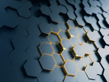 Hexagonal abstract background. 3d render vector illustration