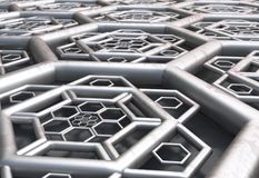 Hexagonal abstract background rust perspective 3d illustration. Hexagonal abstract metal shape background 3d render vector illustration