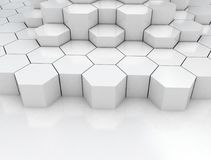 Hexagonal abstract 3d background. Hexagonal stacked abstract 3d background Royalty Free Stock Photography