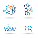 Hexagonal abstract icons, business concepts Stock Photography