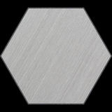 Hexagonal Aluminum Bevelled Panel with Clipping Path. Part of Hexagonal Aluminum Panels set, which includes 14 unique panels that fit together perfectly to form royalty free stock photo