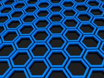Hexagonal background. Three dimensional illustration of abstract blue hexagonal background on black Stock Images