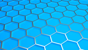 Hexagonal background. Pattern of metal hexagonals on blue background Stock Images