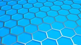 Hexagonal background. Pattern of metal hexagonals on blue background Vector Illustration
