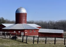 Hexagonal Barn. This is a Winter picture of the iconic Dyas Hexagonal Barn located in Bellevue, Iowa in Jackson County.  This unique barn built in 1921 features Royalty Free Stock Image